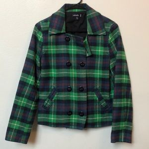 Plaid Pea coat style preppy jacket double breasted